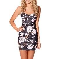 Sexy Women Sleeveless Flowers Tennis Sports Dress Female Elastic Slim Sundress Vogue Oriental Cherry Digital Print