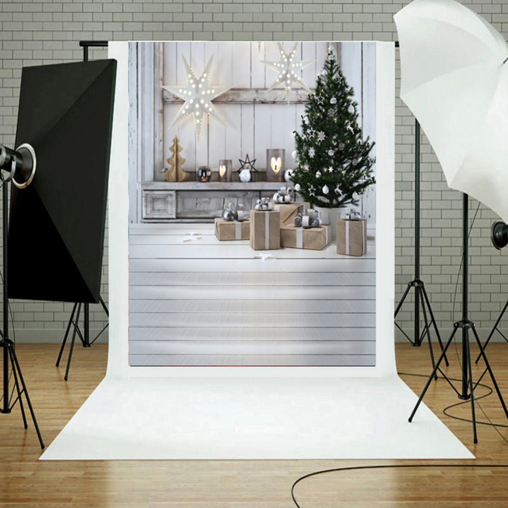 3*5FT Snow Christmas Tree Photography Background Studio Photo Prop Backdrop Star Bowknot Romantic Flower Wedding Backgrounds