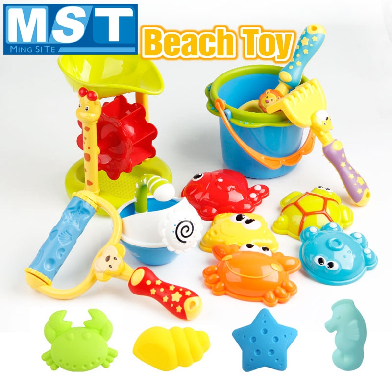 19PCS Funny Kids Beach Sand Game Toys Set Shovels Rake Hourglass Bucket Children Outdoor Beach Playset Role Play Toy Kit