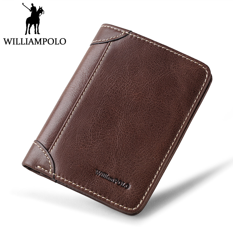 WilliamPOLO Vintage Slim Mini Wallet Men Genuine Leather Purse Short Cowhide Pouch 2018 Minimalist Design Male Purse Mini Thin