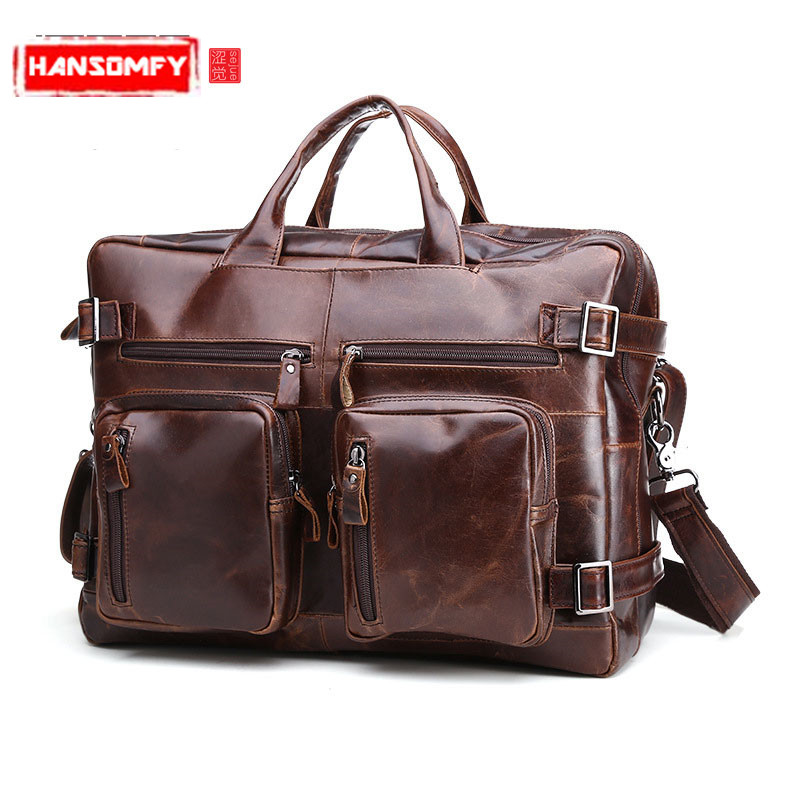 Vintage Genuine Leather Men Bags business Laptop Briefcase Portfolio Fashion crossbody Mens Messenger Bags Travel handbagsVintage Genuine Leather Men Bags business Laptop Briefcase Portfolio Fashion crossbody Mens Messenger Bags Travel handbags