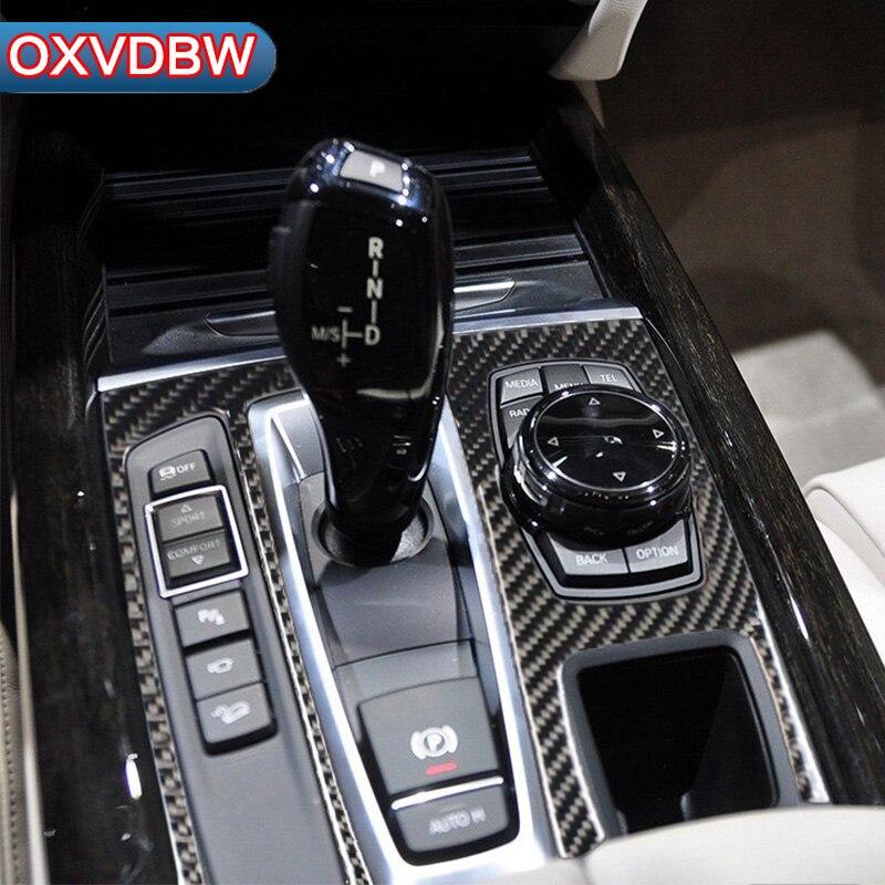 Pour bmw f15 f16 accessoires En Fiber De Carbone Intérieur décoration Autocollants Couverture trim Bande de Voiture Contrôle de Changement de Vitesse Panneau x5 x6