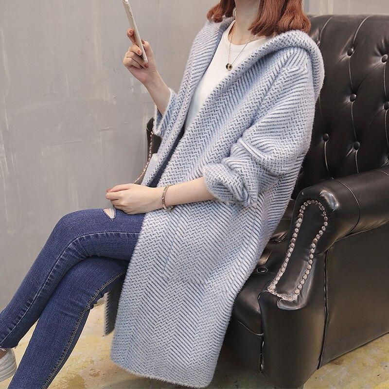 Женский осенний свитер, новинка 2018, стильный свободный свитер в Корейском стиле, длинный вязаный кардиган с капюшоном и длинным рукавом для ...