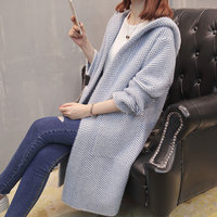 women Autumn sweater 2018 new style lazy wind sweater Korean version loose long knitted cardigan coat hooded full sleeve female