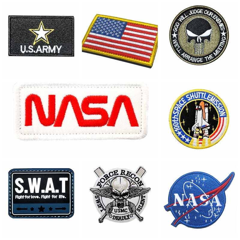Taktik rozetleri yamalar kumaş askeri etiket kanca kol bandı taktikleri rozetleri çıkartmalar Punisher bayrağı işlemeli kol bandı aplikler