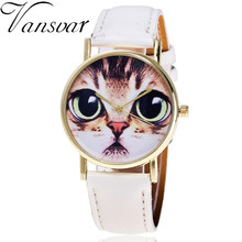 Vansvar Brand Vintage Leather Cat Face Wrist Watch Casual Fashion Ladies Women Quartz Watch Relogio Feminino V49