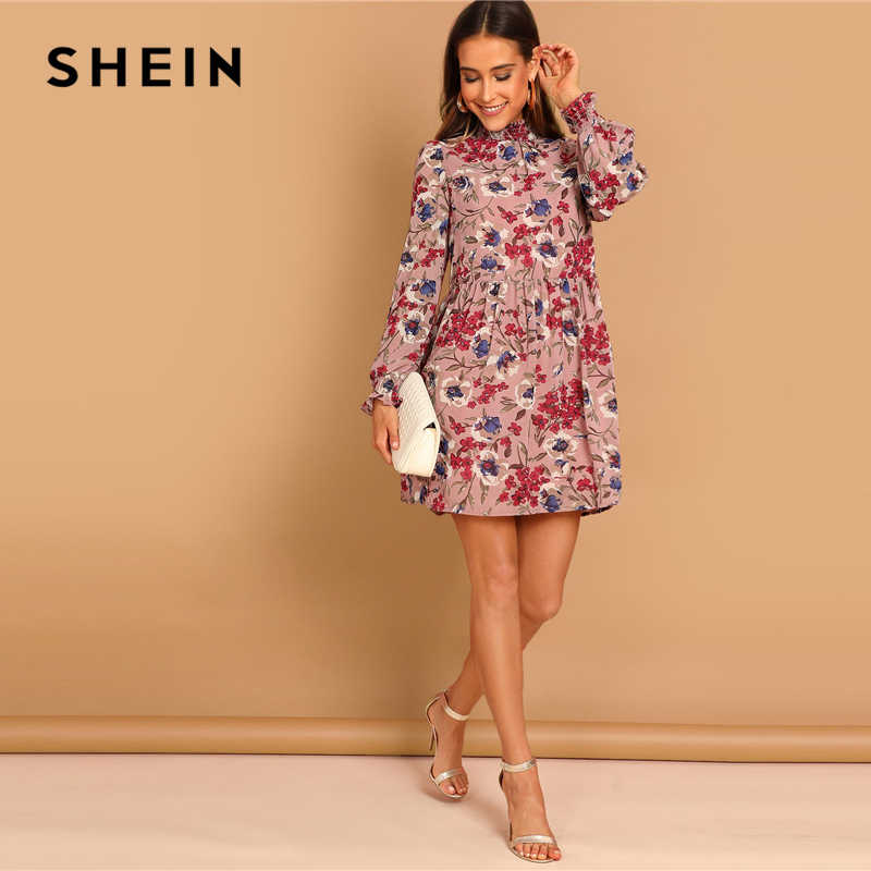 b452496dd5 ... SHEIN Multicolor Allover Floral Print Shirred Panel Stand Collar Long  Sleeve A Line Short Dress Women ...