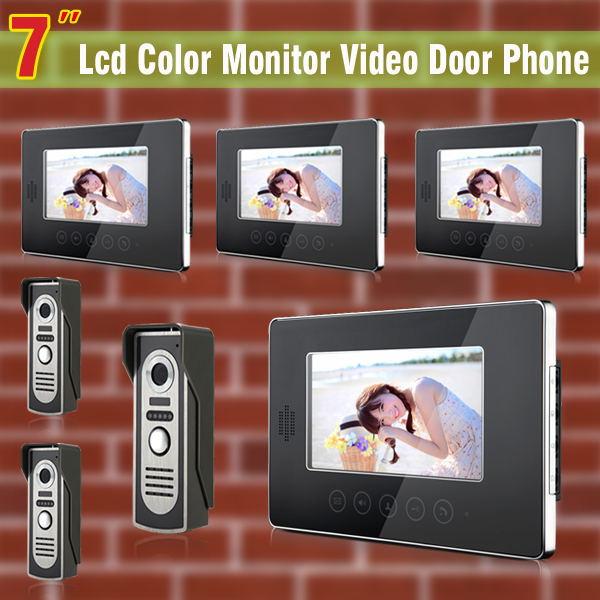 7 Inch monitor video door phone intercom system Video doorphone doorbell Kit visual intercom system 3-Camera 4-Monitor yobang security video doorphone camera outdoor doorphone camera lcd monitor video door phone door intercom system doorbell