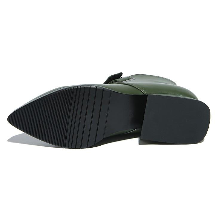 Tacón Tamaño Sexy Plus Nuevo Negro Botas Las Vaca Moda {zorssar} Zapatos De Mujer Bajo Mujeres 2019 Invierno verde Cuero Militar Suave Más w76ZqBX