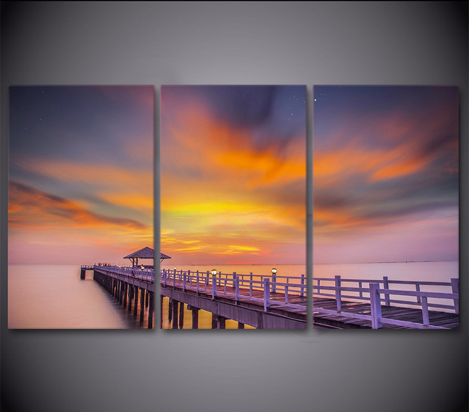 3 Piece Wall Picture Art Poster Bridge Pier Coast Sea Sunset Canvas Painting Art Canvas For Living Room Decor Artwork Hanging