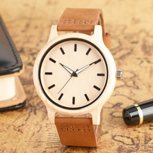 Unique Hand-made Nature Men's Wood Watches with Brown Genuine Leather Band Light Wooden Wristwatch Reloj de madera