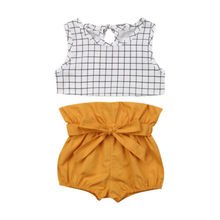 Newborn Baby Girls Clothes Sleeveless Plaid Vest Tops Shorts Pants 2PCS Outfits
