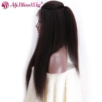 AliBlissWig Glueless Full Lace Human Hair Wigs With Baby Hair Italian Yaki 1B Color Brazilian Hair