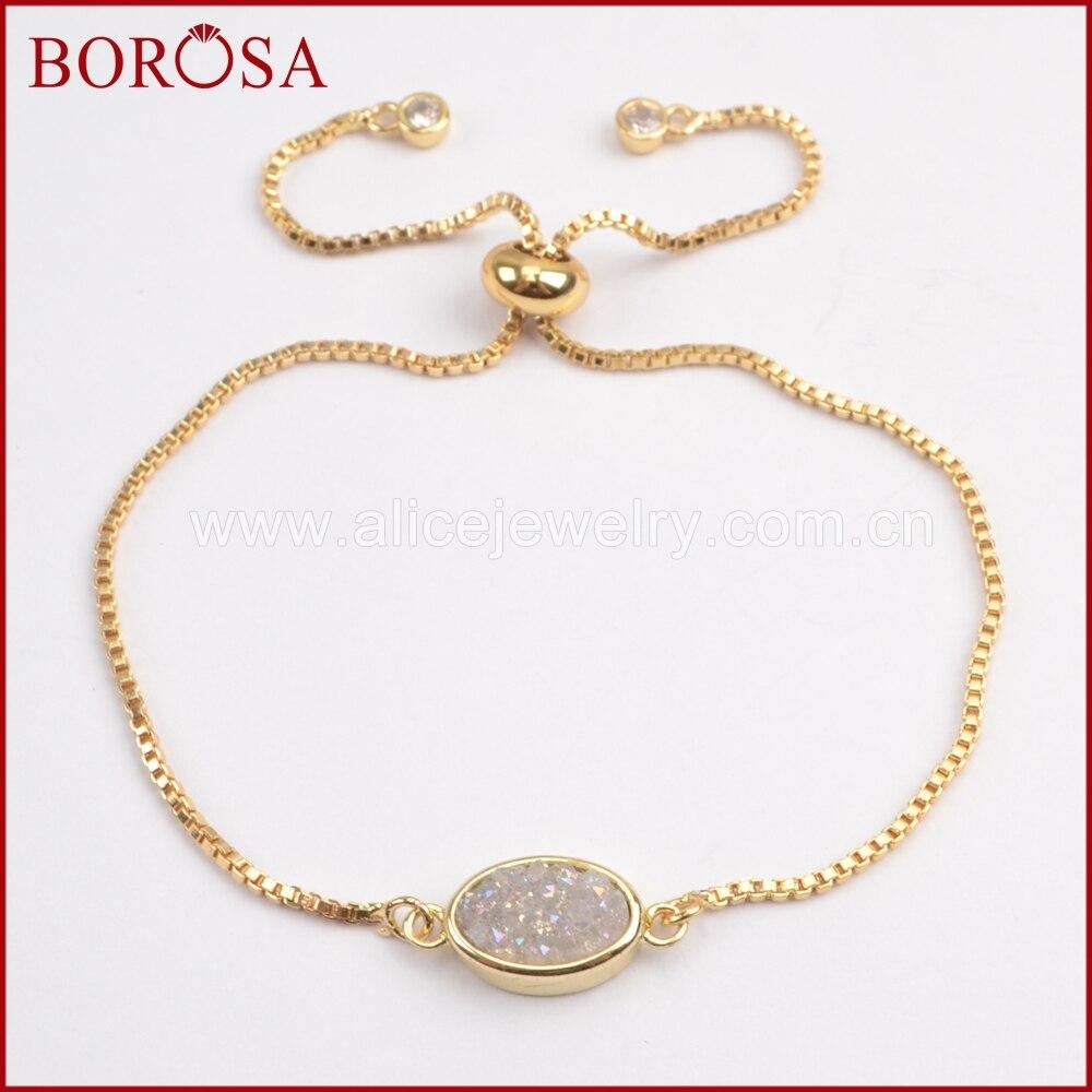 BOROSA 10Pcs New Gems Gold Color Bezel Oval Titanium Druzy Adjustable Bracelet, Fashion Rainbow Drusy Bracelets for Women ZG0221