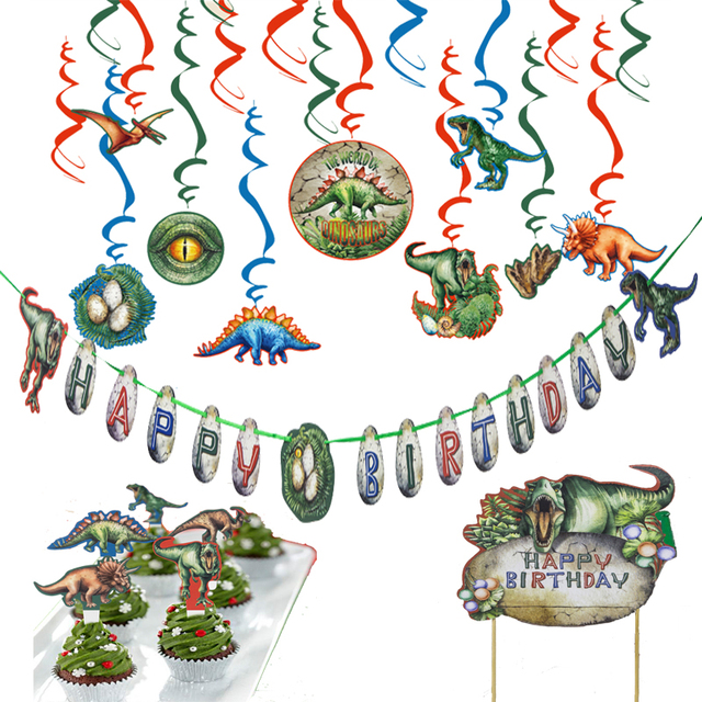 Jurassic Park Dinosaur Theme Birthday Party Decorations Happy Banner Cake Topper Cupcake Kit Hanging Swirl Decor