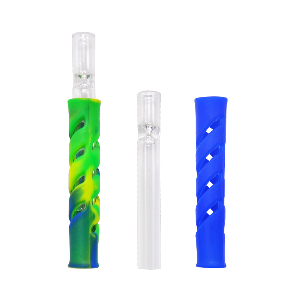 HORNET Glass & FDA Silicone One Hitter Smoking Herb Pipe ...