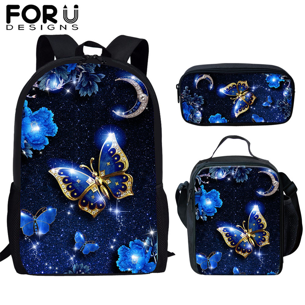 FORUDESIGNS Children School Bags 3D Beauty Butterfly Animal Print 3 Pcs/set Kids Backpack Girls Women Schoolbag  Mochila Escolar