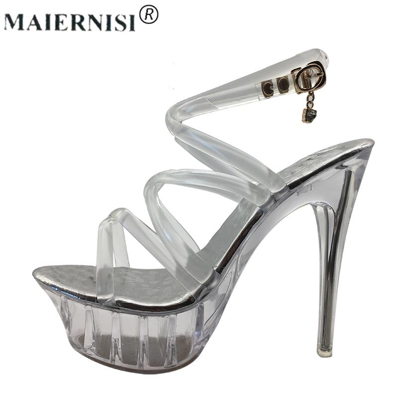 Summer Platform sexy clear pvc strappy sandals Shoe for stripper pole dance Women  Large Size High heel Big Pump Lady female Plus fec948c3c988