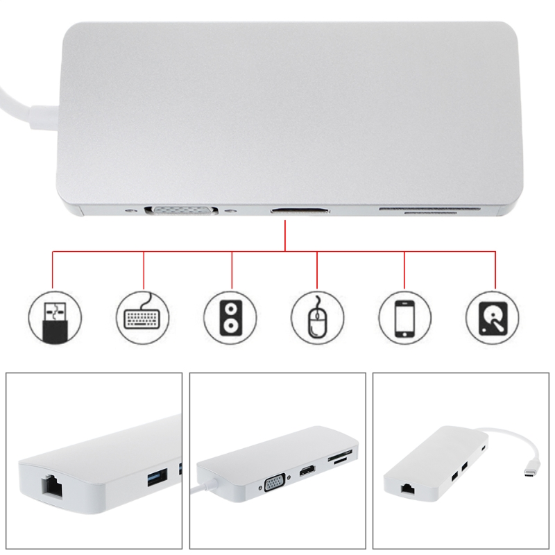8 in 1 Hub USB Type C RJ45 Ethernet USB 3.0 TF SD Card Reader Adapter 4K HDMI Laptop Accessories