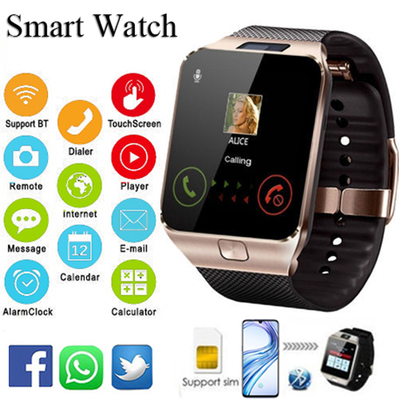 Reloj digitale hombre 2019 Bluetooth <font><b>Smart</b></font> Uhr DZ09 Smartwatch TF SIM Kamera für IOS iPhone Android Telefon reloj <font><b>mujer</b></font> digital image