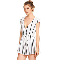 Women Casual Vertical Striped Jumpsuit Playsuits Romper With Belt Combinaison Macacao Bodysuit Womens Jumpsuit 15