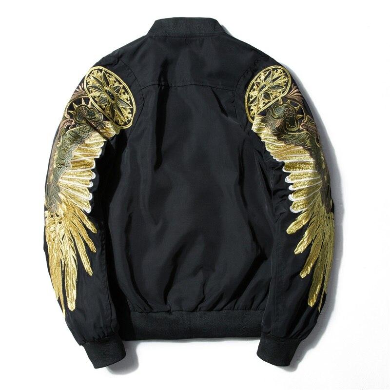 Heren Lente Herfst Jas Borduren Gold Eagle Wings Militaire Bomber Jas Mode Uitloper Heren Jas Jas Om Geavanceerde Technologie Te Adopteren