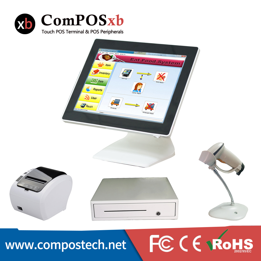 Free Shipping Cheap Cash Register 15 Inch Resistive Touch Screen All In One POS System DDR2GB SSD32GB For Retail Shop hk register free shipping 100