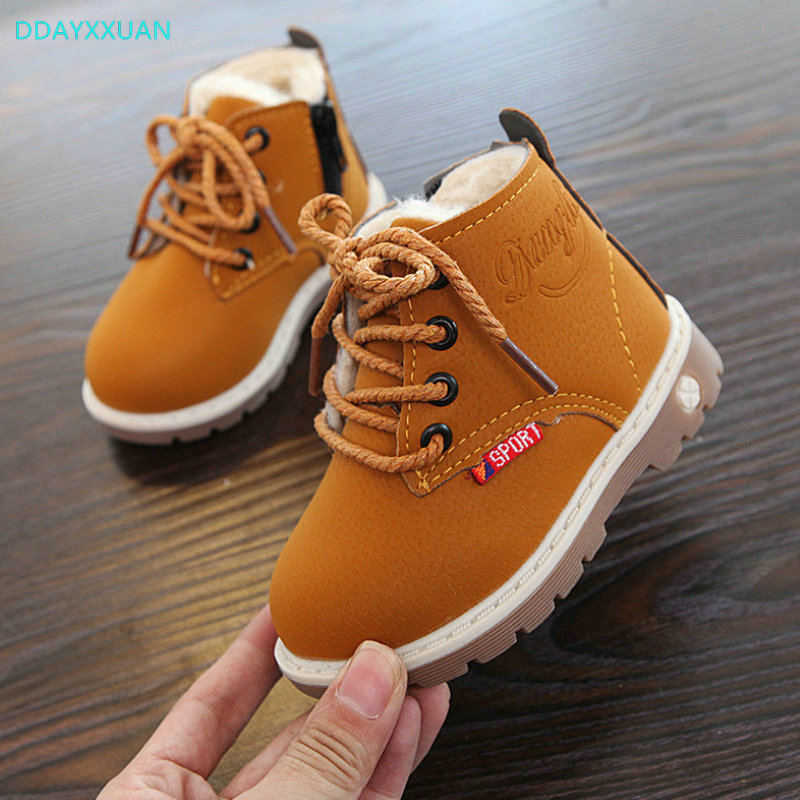 Girl Boy Snow Boots 2018 New Winter For Kids Comfort Thick Antislip Short Boots Fashion Children Cotton-padded Shoes EU 21~30