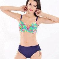Vijf hoofd padded bikinis 2017 nieuwe hoge hals bikini vrouwen swimwear bandage uitsnede braziliaanse bikini set print zomer