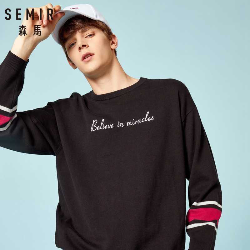 SEMIR bawełniany sweter męski 2019 jesienny wysoki moda uliczna solidna marka Hip Hop swetry oversize sweter męski