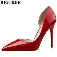 2017 красные туфли-лодочки бренд Женская обувь на каблуке пикантные вечерние туфли на высоком каблуке женская свадебная обувь Офисные Насосы Туфли от Zapato Mujer