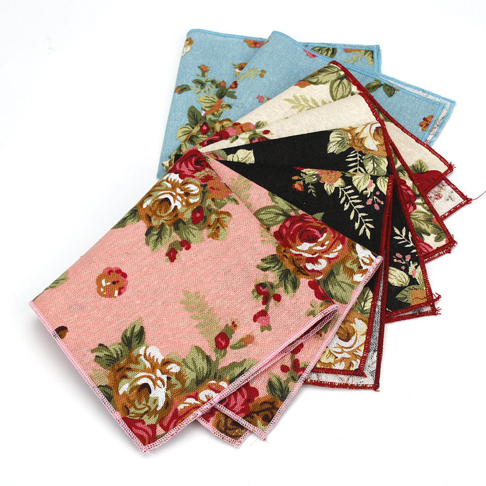 Men Vintage Flower Pocket Square Handkerchief Wedding Party Business Hanky BWTYF0101