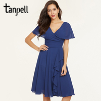 Tanpell Ruffles Short Cocktail Dress Dark Royal Blue V Neck Knee Length Gown Short Sleeves A