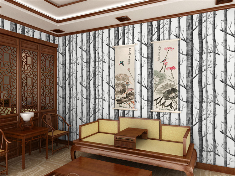 Modern Birch Tree Wallpaper Brief Wallpaper Trees Wallpaper 3D Mural Wall Roll for Living Room,Non Woven Wallpapers for Walls fashion normal simple wallpaper european line wallpaper 3d mural wall roll for living room non woven wallpapers for walls