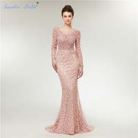 Sapphire Bridal Arabic Robe De Soiree Muslim Evening Dress Full Sleeve Blush Sexy Backless Huge Beaded Long Formal Gowns