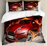 Duvet Cover Set , Red Sports Car Burnout Tires in Flames Blazing Engine Hot Fire Smoke Automobile, 4 Piece Bedding Set