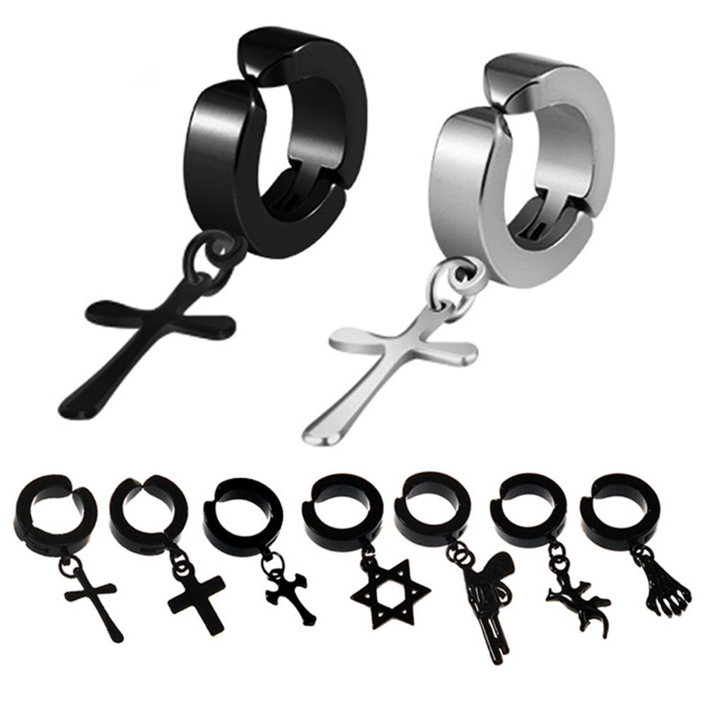 DreamBell Men Clip Earrings Hiphop Fashion Rock Style Hypoallergenic Cross Shaped Titanium Steel Ear Clip Earrings Accessories