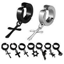 Dreambell clipe de brincos hiphop moda rock estilo hipoalergênico cruz em forma de titânio clipe de ouvido de aço brincos acessórios