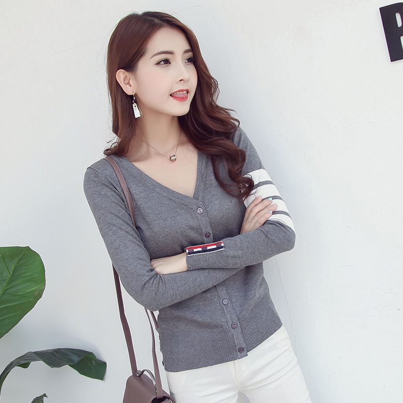OLGITUM New Sweater Women Cardigan Button Thin Knitted Coat Long Sleeve Crochet Female Casual V-Neck Woman Cardigans Tops SW547