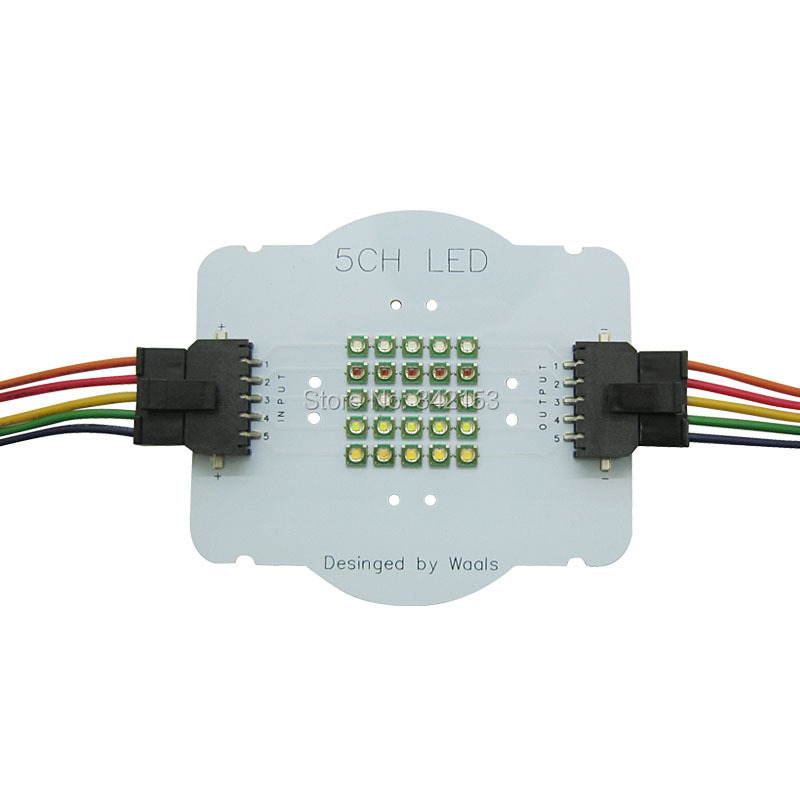 Customize 5 Channel 25Leds Cree XPE XP-E2 RGBWW Led Emitter Lamp Lights Red Green Blue White Warm White With Connectors Wires 114w cree cxa3070 cxa 3070 white 5000k warm white 3000k led emitter lamp light with plastic led holder