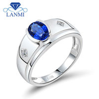 Luxury Oval 5x7mm Natural Diamond Sapphire Men Wedding Ring In 18Kt White Gold Gemstone Jewelry WU292