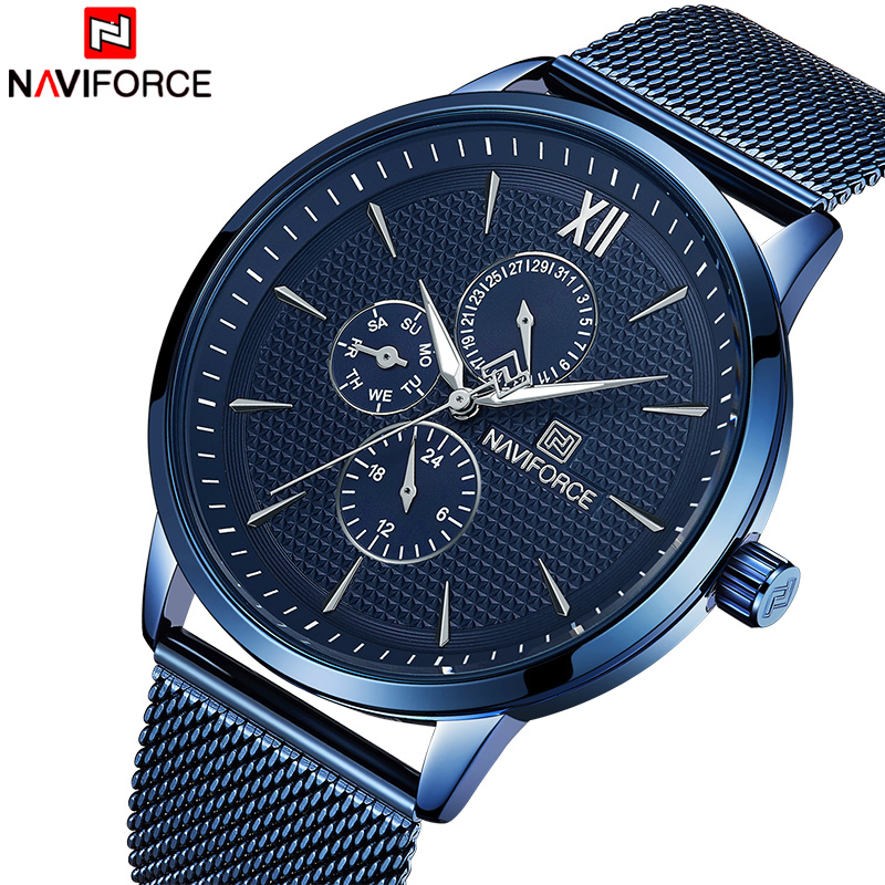 NAVIFORCE 2018 New Fashion Men Watches Mens Casual Sports Quartz Wrist Watches Mens Military Leather Waterproof Analog ClockNAVIFORCE 2018 New Fashion Men Watches Mens Casual Sports Quartz Wrist Watches Mens Military Leather Waterproof Analog Clock