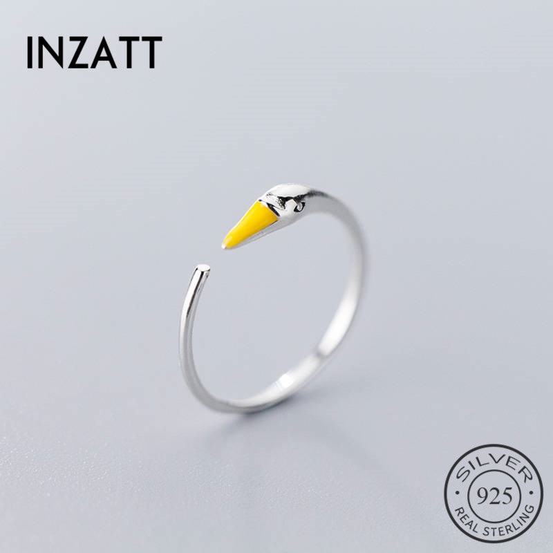 INZATT Real 925 Sterling Silver Minimalist Swan Ring For Charming Women Wedding Party Fine Jewelry Trendy 2019 Accessories Gift