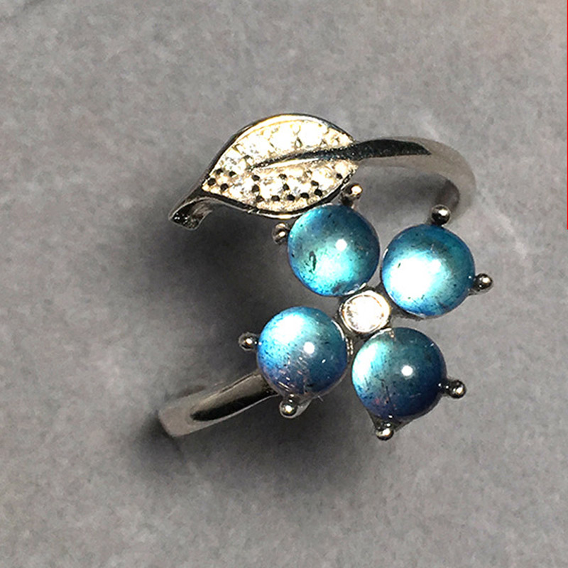 New pure s925 silver Flower Leaves Ring for Women Ladies AAA zircon Finger Ring Open Adjustable Fine Jewelry Gifts anillos in Rings from Jewelry Accessories