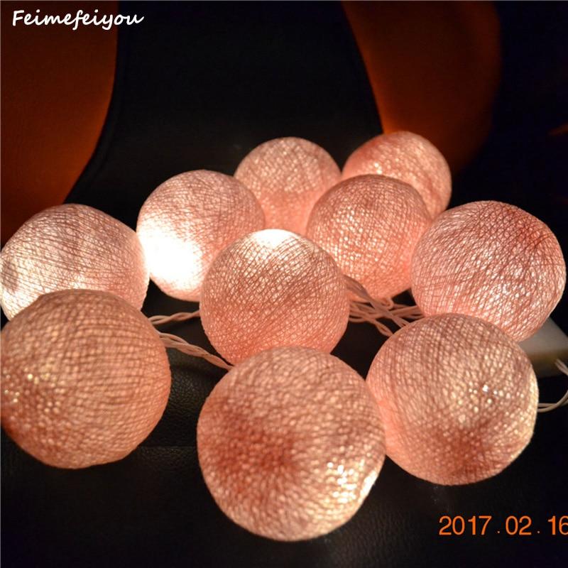 Feimefeiyou 1M 10 Pink Beige Fabric Cotton Ball String Fairy Thailand - Holiday Lighting