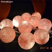 Фотография Feimefeiyou 1M 10 Pink Beige Fabric Cotton Ball String Fairy Thailand Lights Christmas Wedding Party Home Decoration