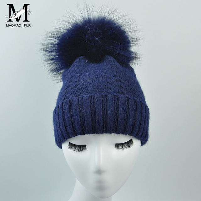 Adult Women Natural Real Wool Hat Fur Pompoms Beanie Hat Ball Cap Warm Casual Winter Knitted Wool Hat Women Winter Fur Hat-WH141