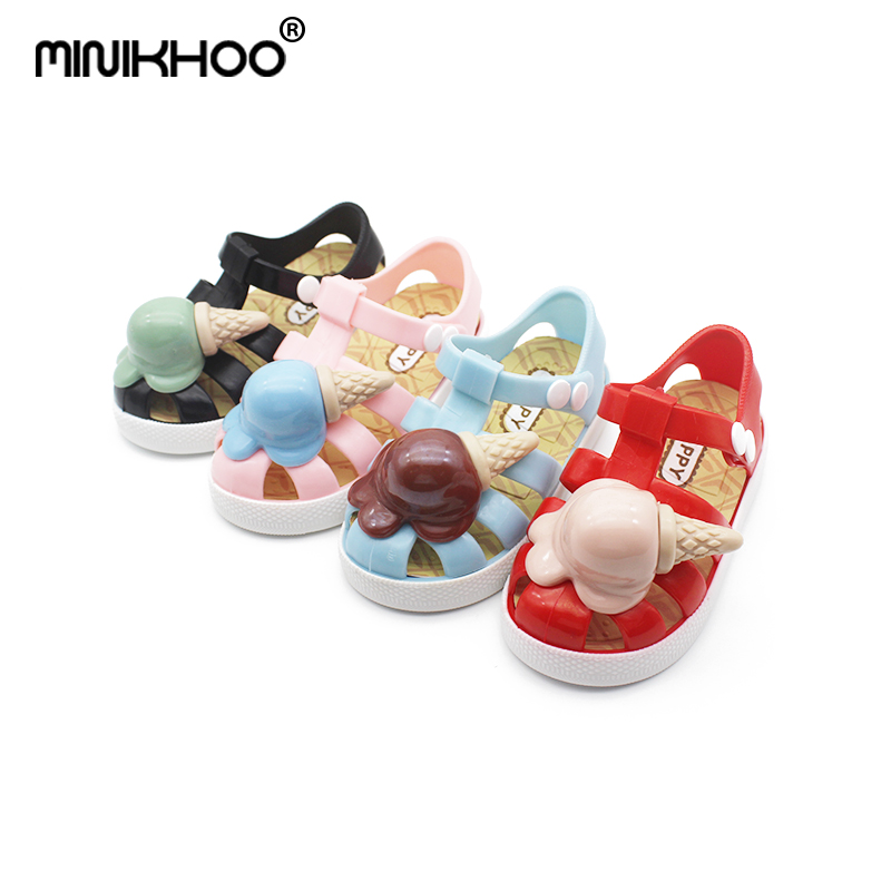 Mini Melissa 2018 New Children Jelly Sandals Ice Cream Mini Melissa Roman Shoes Non-slip Beach Shoes Melissa Sandals Jelly Shoes