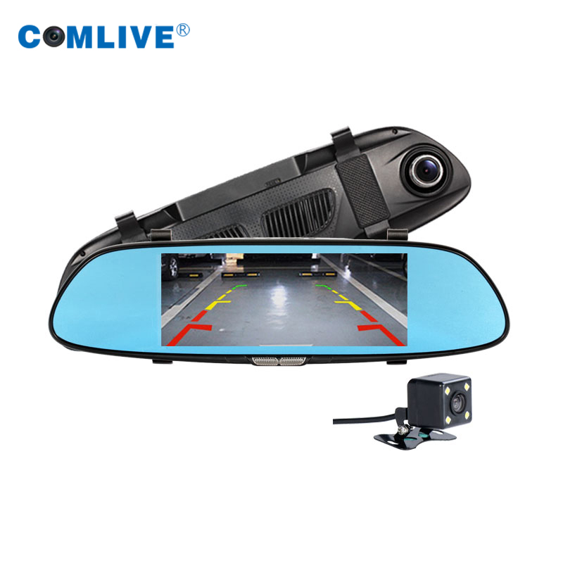 dual cams rearview mirror car dvr 4 3 inch dashcams dvr picture in picture display parking