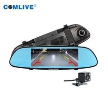 Dual cámaras de espejo retrovisor del coche dvr 4.3 pulgadas dvr imagen en pantalla la imagen de dashcams aparcamiento monitor del coche de grabación de vídeo